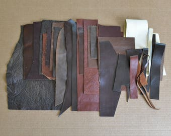 Leather scraps #4 - 1 Pound of Quality Leather Scraps