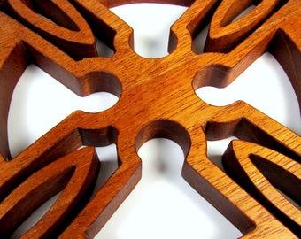 Cross / Celtic Style / Wall Decor / Mahogany Wood