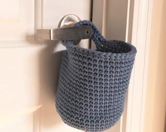 Hanging Basket, Doorknob Basket, Crochet Basket in Denim Blue
