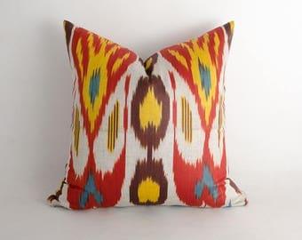 15x15 red yellow brown ikat pillow cover, decorative ikat cushion interior decor. uzbekistan ikats. cotton ikat