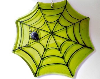 Green glass spider web  sunatcher