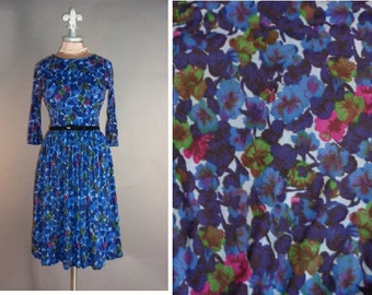 60s dress 1950s 1960s vintage BLUE PINK FLORAL flowers brushed nylon full skirt fit and flare dress