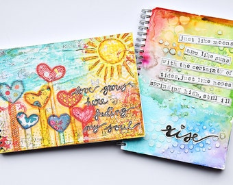 "Art Journal Revlie ""Love grows here feeding my soul"" & a FREE set of my REVitup postcards"