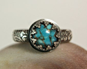 Ornate Style Copper Turquoise Sterling Silver Ring, Vintage Style Gemstone Jewelry