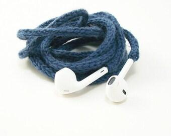 Tangle Free Knit Apple Earpods in Stoic Blue