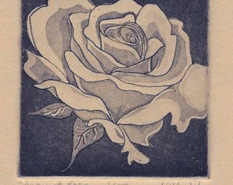 Aquatint Etching-Ancient Rose-Classic Romantic Edwardian-1/50- 7 x 9 inches