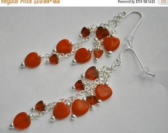 SALE NOW 15% OFF 925 Sterling Silver Red Heart Beaded Dangle Earrings