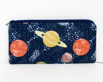 Zippered Pencil Pouch, To the Moon, Navy Blue Universe, Planets, Saturn, Stars Bag