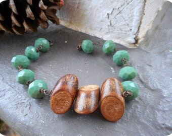The Pinewood Crossing Bracelet. Pine Green Glass beads & Wood Twig boho chunky bracelet.