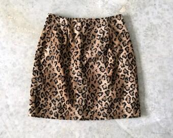 faux fur leopard print 90s skirt - 1211389