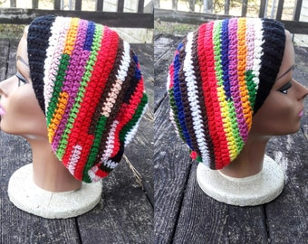 Psychedelic multi color hippie slouch beanie hat
