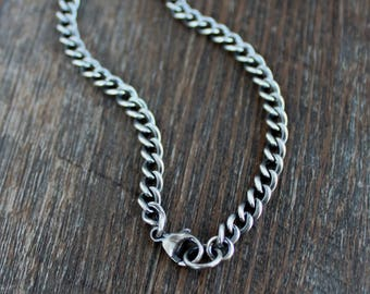 Mens Silver Curb Chain, Mens Oxidized Sterling Silver Necklace