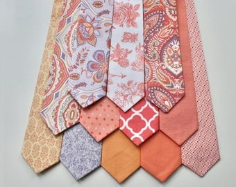 Little and Big Guy NECKTIE Tie - Coral Peach Lavender - (Newborn-Adult) - Baby Boy Toddler Teen Man