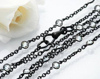 Edwardian Muff Chain | Extra Long Antique Black Gunmetal Chain with Crystals | 59 Inch or 1.5m Long Necklace Chain, Fob Clip | Black Sautoir
