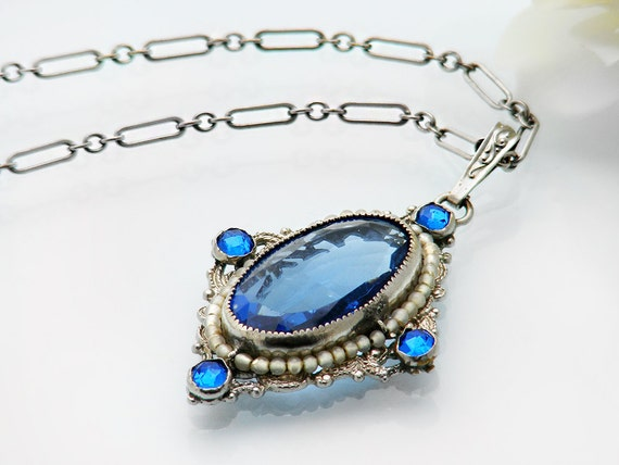 Vintage Necklace in Sapphire Blue | Glass Oval Pendant | Victorian Revival Jewelry | Ornate Blue & Silver Setting - 15.5 Inch Choker Chain