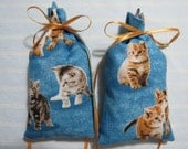 "Blue 5""X2.5"" Sachet-'Purrs and Paws' Fragrance-Kittens-Cotton Botanical/Herbal Sachet-Cindy's Loft-695"