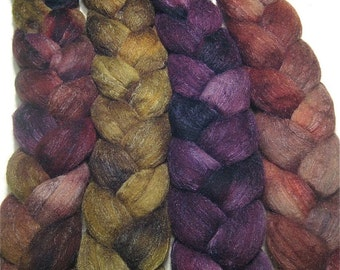 Wonder Bundle Polwarth & tussah silk roving 9.5 oz Blackberry Bush - hand dyed spinning felting fiber bundle - wool top set - earthy fiber