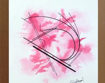 Original Geometric Painting on Paper Abstract Painting, Bauhaus, Lissitzky, Kandinsky, Architectural, Modern, 6 x 6, Linen Paper