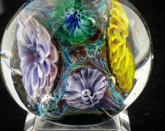 Sunflower and Violet Anenome Garden, Handmade Lampwork Bead, Artisan, OOAK