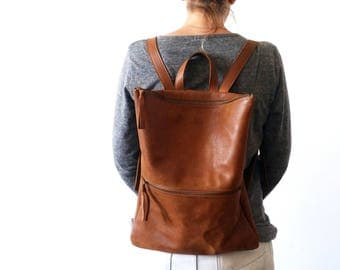 Backpack ,brown leather, Laptop bag