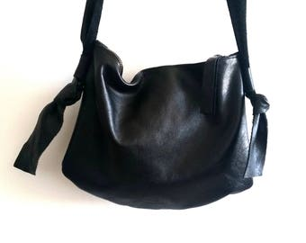 Black leather bag, cross bady bag,