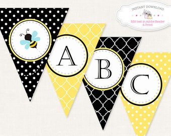 DIGITAL Bumble Bee Banner, Bee Birthday Banner, Bee Baby Shower, Nursery Banner,Bee Party Banner, Editable Letters, Instant Download