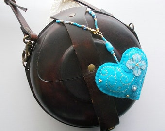 Bag Charm Embroidered and Beaded Felt Heart Blue Glass Bead and Gold Plated Claps and Oval Jump Ring