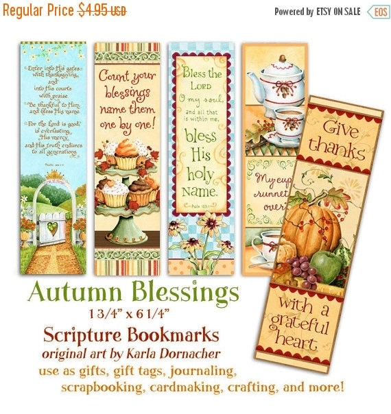 50% OFF SALE Five Autumn Blessings Christian Bible Bookmarks Digital Printable INSTANT Download