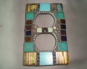 MOSAIC Electrical Outlet COVER , Wall Plate, Wall Art, Blue, Teal, Iridescent