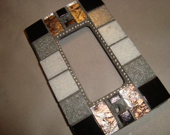 MOSAIC Outlet Cover or Switch Plate, GFI Decora, Wall Plate, Wall Art, Black, shades of Gray, Silver