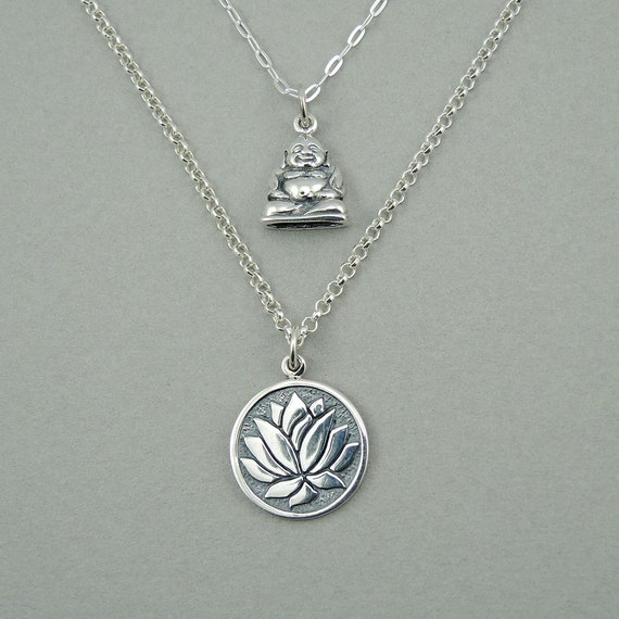 Buddha Necklace Sterling Silver Lotus Flower Necklace