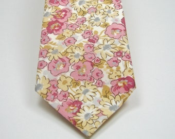 Floral Neckties Pink Floral Necktie Mens Neckties Custom Neckties Pink and Yellow Floral Neckties Floral Neckties