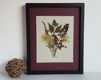 11x14 matted original pressed flower artwork made with real dried flowers