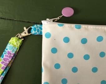 sky blue polka dot oilcloth wristlet