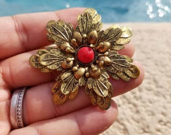 Antique Gold Tone and coral tone cabochon Flower  Brooch with C Style Clasp