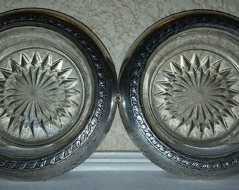 Vintage Pair of Sterling Silver & Pressed Glass Ashtrays