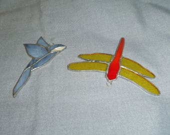 Stained Glass Hummingbird and Dragonfly, Suncatchers, Window Hangings