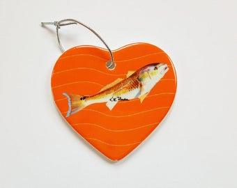 Red Drum Holiday Christmas ornament heart shaped porcelain ready to hang