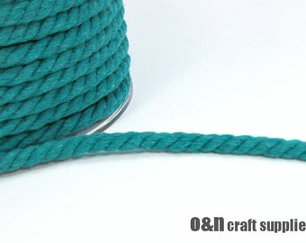 Teal twisted cotton cord, 8 mm teal cord, 2 meters