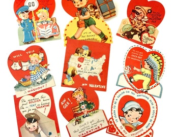 Vintage 1950s Valentine's Day Cards Set of 9 USED / Collectible Ephemera, Boys Girls Hearts