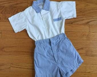 "Vintage 1960s Boys Size 2-3 Clothing Set / Boys Retro Shirt and Shorts Set / b22"" rise 9"" / Cotton Button Short Sleeve Shirts and Shorts"
