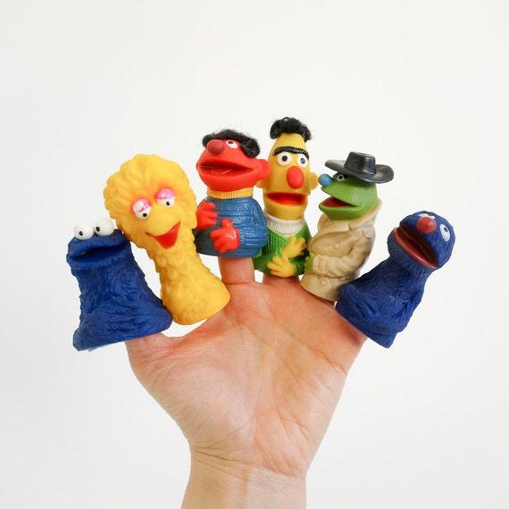 vintage 1970s 80s toy    sesame street finger puppets    your