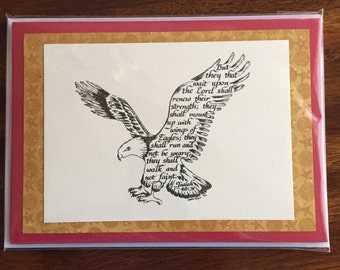 Eagle Print Handmade Greeting Card Lighthouse, calligraphy, Isaiah 40:31