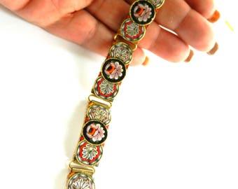 Vintage Italy Multi Color Glass Micro Mosaic Five Linked Panels Bracelet - Stunning Florentine floral micro mosaic bracelet -- ART.799/4