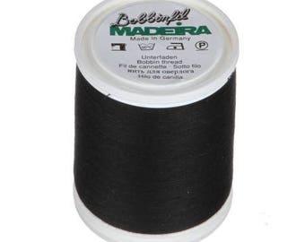 Madeira Black Bobbin Thread Polyester 1650 yds. Machine Embroidery Bobbin Weight