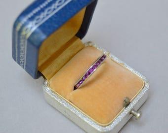 Vintage. Antique. Sterling Purple Glass Channel Set Ring . Purple Stones