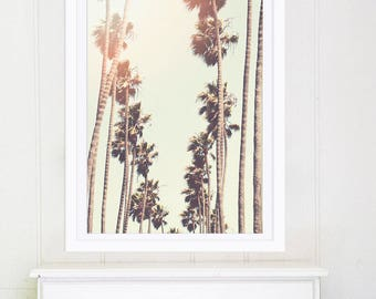 Santa Monica Palm Trees // Fine Art Print // Los Angeles Photography Print for Modern Decor // Retro Golden Yellow Print