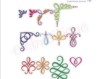Buttercup Accents 38-49  -SET 4 - Calligraphy Decorative Embellishments -Instant Download Machine Embroidery Design