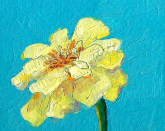Yellow Marigold painting 4x4