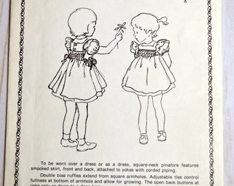 Pinafore For English Smocking Sewing Pattern Little Girl UNCUT Florence Roberson Little Sunday Dresses Size 3-4